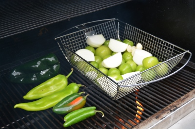 I started with the onion in the grill basket, but as you'll see, decided to put them directly on the grill.