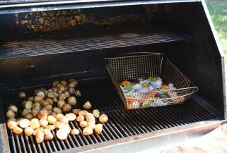 Once the potatoes were ready for indirect heat, the veggies were moved over to finish cooking over direct heat.
